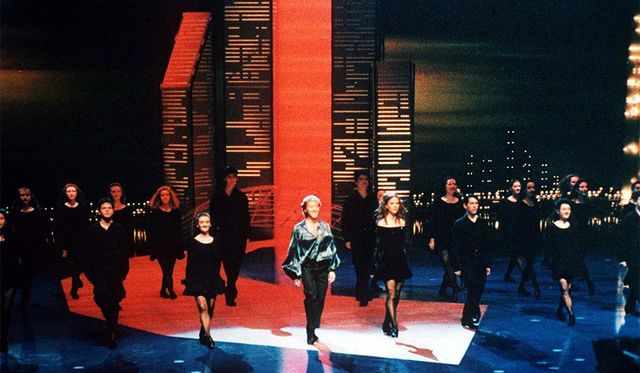 April, 1994: Michael Flatley and Jean Butler during the perfromance of Riverdance the Show at the Point Theatre in Dublin.