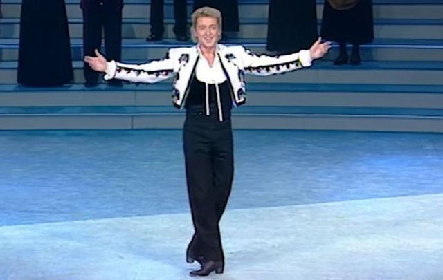 February 9, 1995: Michael Flatley during the finale of Riverdance the Show at the Point Theatre in Dublin.