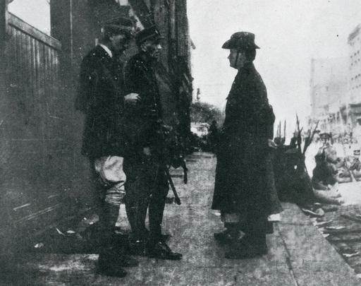 Padraig Pearse surrendering to British Major-General William Henry Lowe.