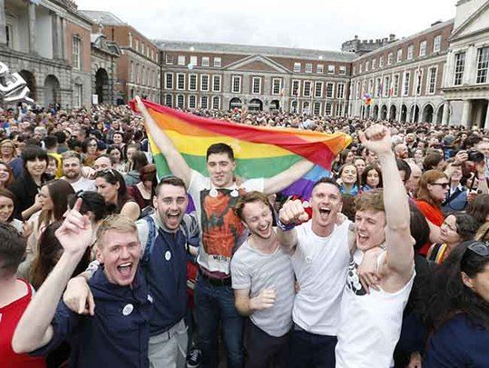 People of Ireland celebrate a Yes vote for same-sex marriage in Ireland.