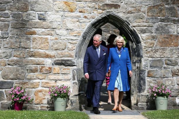 The Prince of Wales and the Duchess of Cornwall at Donegal Castle in Donegal Town on May 25, 2016.