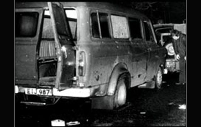 Alan Black, survivor of the Kingsmill massacre in Armagh, gave a harrowing account of the killings. Above: the mini-bus the men were traveling in.