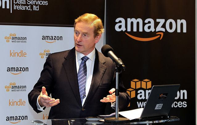 Taoiseach and Fine Gael leader Enda Kenny speaking at the press conference at Amazon in 2014.