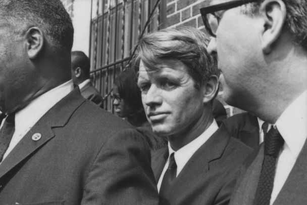Robert F Kennedy (center) at the funeral of Martin Luther King Jr in Atlanta, Georgia on April 9, 1968. Kennedy was assassinated two months later.