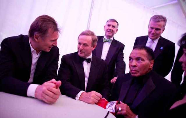 Liam Neeson, Enda Kenny, and Muhammad Ali at the 2011 American Ireland Fund New York Gala, at which Muhammad Ali received The American Ireland Fund Humanitarian Award.