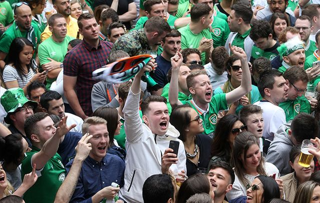 "Ireland fans celebrating in Dublin. French are next in line for Irish ""little team that could."""