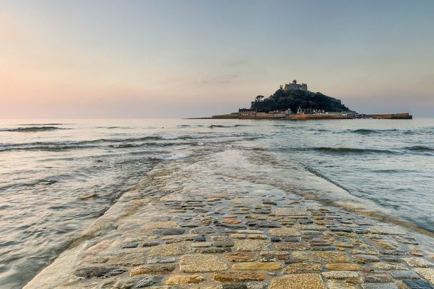 The causeway at St. Michael\'s Mount, in Marazion, Cornwall.