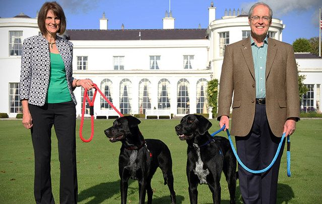 Dena and Ambassador Kevin O'Malley with their dogs at the ambassador's Dublin residence, Deerfield, shortly after arrival.