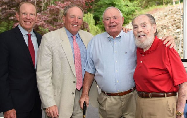 Caron Treatment Centers president and CEO Doug Tieman, Casey Duffy, Ken Gill, and John Duffy at the dedication of the Gill Duffy House in June.