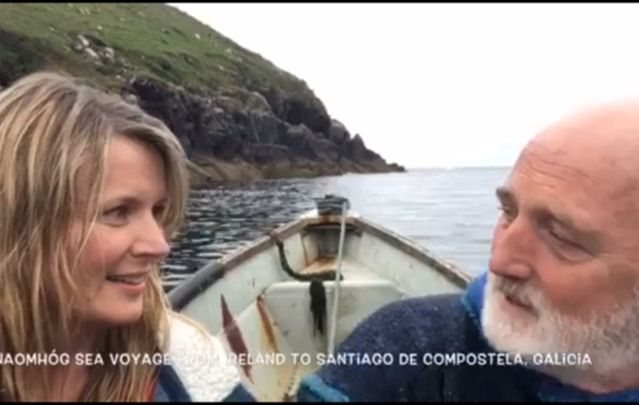 Two Irish men traveled along the Camino de Santiago pilgrimage route in a vessel designed over a thousand years ago.