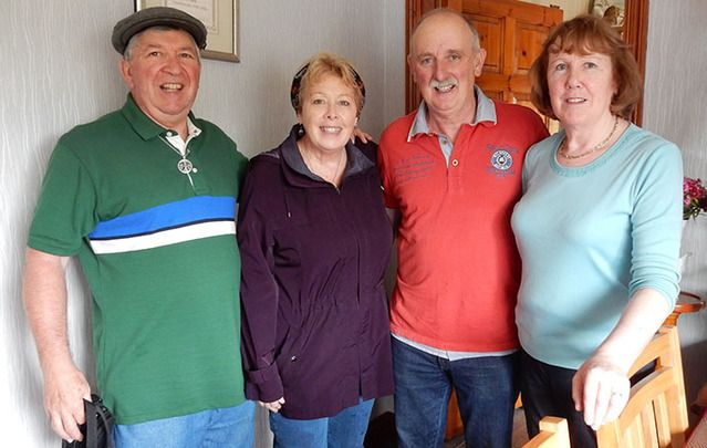 Mike & Kate (left) with hosts Luke and Ann at Dawn B&B, Kilmeaden, County Waterford.