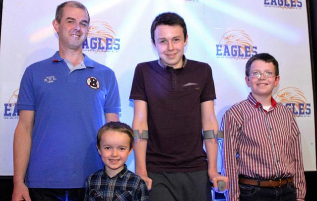 Alan Hawe with his three sons - Liam, Niall and Ryan.