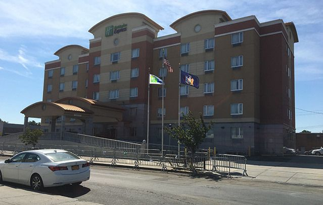 The hotel site of the proposed homeless shelter, which has Maspeth residents outraged.