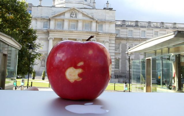 Ireland's bad Apple deal threatens to upend Irish economy. A carved apple photographed outside the Government buildings, off Merrion Sq.
