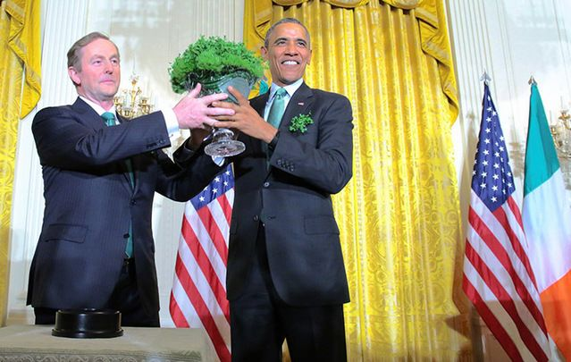 Taoiseach and Fine Gael leader Enda Kenny gives the traditional bowl of Shamrock to President Barack Obama in the White house Washington USA.