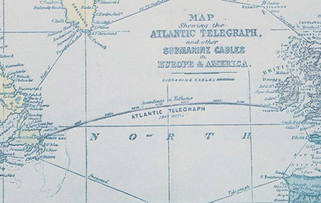 Transatlantic cable was installed in 1866, ushering in the age of modern communication.