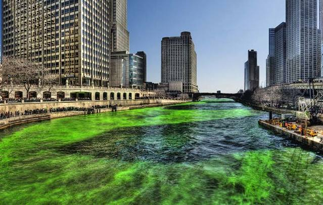 A green Chicago River on St. Patrick's Day.