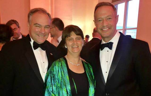 Tim Kaine with wife Anne Holton and former Maryland governor Martin O'Malley.