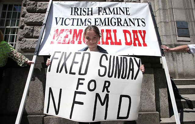 Ciara Blanch (7) from Tallaght Dublin joined people demonstrating outside the Department of Jobs, Enterpirse and Skills. They are campaining for a sepecific day for the Irish Famine Victims Emigrants