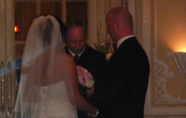 Irishman Pearse McDermott marrying Laura Cogliano.