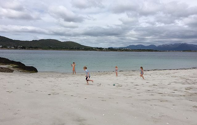 Kids playing in Inis Lacken beach