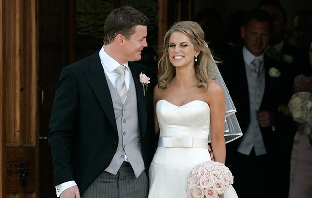 Irish rugby star Brian O\'Driscoll with his wife actress Amy Huberman at St Joseph\'s Church in Aughavas Co Leitrim.