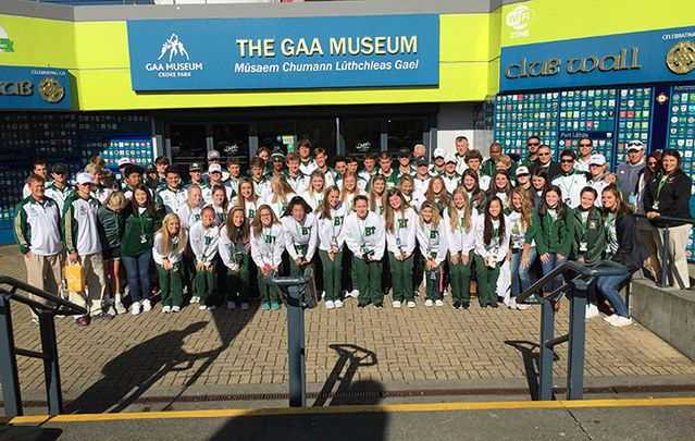 Players and cheerleaders from the visiting high schools took time out to tour Croke Park.