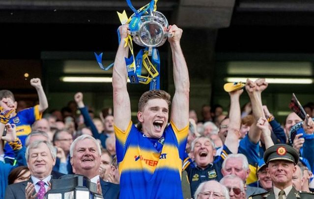 Tipperary captain Brendan Maher holds the Liam McCarthy cup aloft after a stunning 2016 All-Ireland hurling final win.