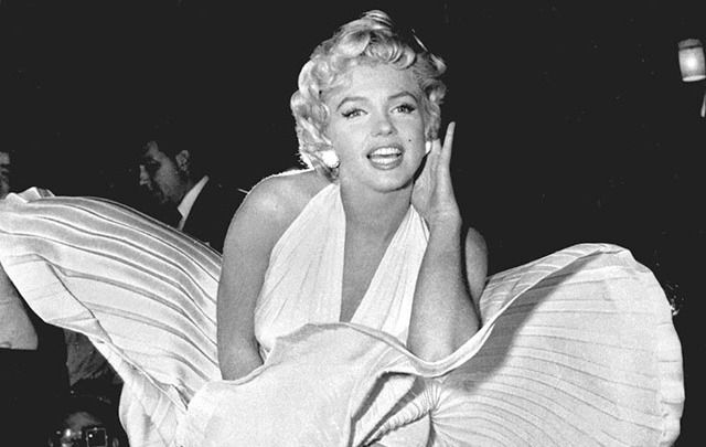 "Marilyn Monroe in her famous pose for ""Seven Year Itch."""