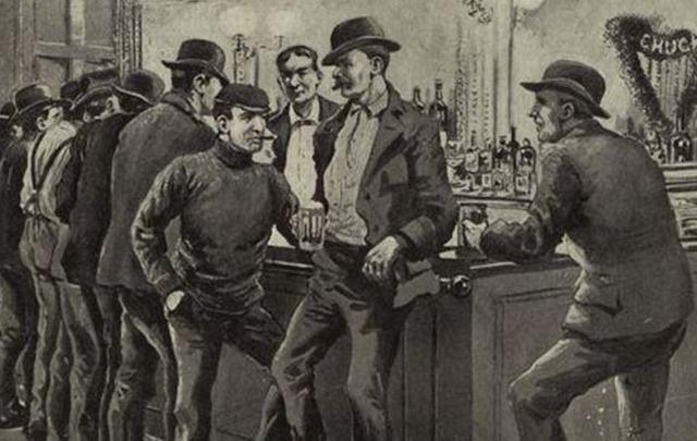 Barney Flynn's bar, in Edward Mooney House, in Five Points, in 1899.