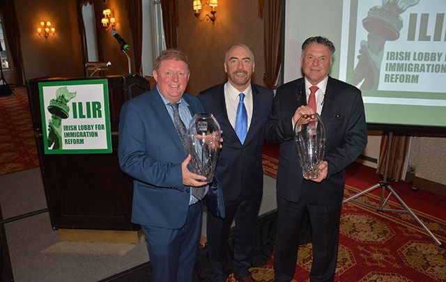 Pictured at the Annie More Awards were (l-r) Laurence McGrath, winner of the Irish spirit Award, presenter Ciaran Staunton of the ILIR, and Paul Bryce, winner of the Patrick J. Donaghy Award.