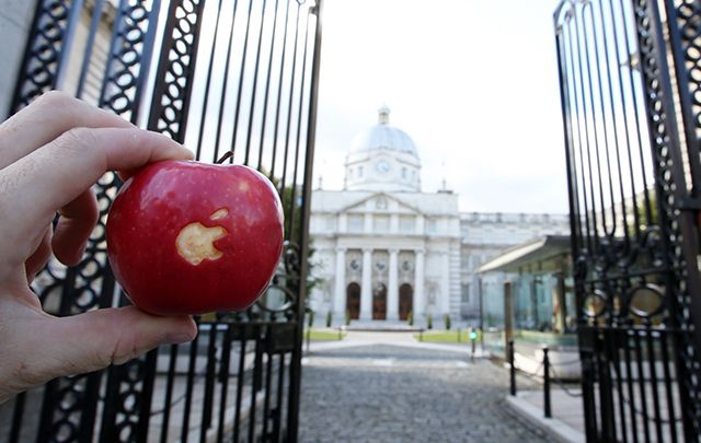 Picking at the Apple tax deal. Shot outside Ireland's government buildings.