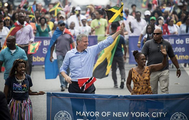 De Blasio marching in the recent West Indian Day parade