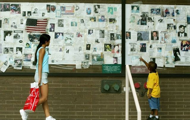 A wall of missing persons posters after 9/11.