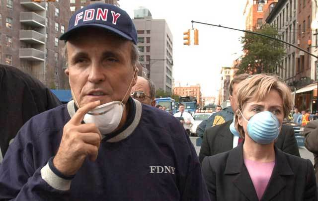 Rudy Giuliani and Hillary Clinton at Ground Zero in the aftermath of 9/11.