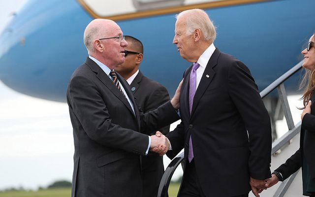 Minister Charlie Flanagan greeting Vice President Joe Biden at Dublin Airport earlier this year.