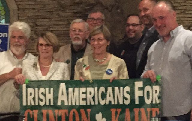 John Myers, Stella O'Leary, Dave Wondolowski and Harriet Applegate with labor union members at inauguration of Irish American Democrats campaign office in Cleveland last Saturday.
