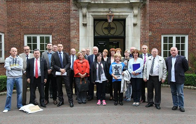 Members of the Ballymurphy Families. John Teggart is third from left.