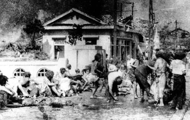 Survivors of the bombing of Hiroshima, south of the city.