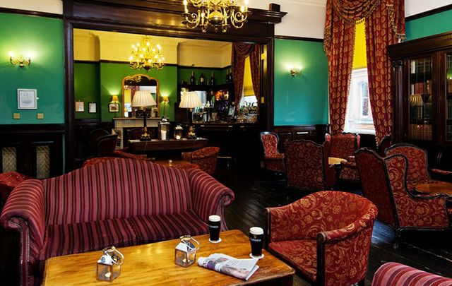 The cozy comfort of a real bar...The Library Bar, at The Central Hotel, Dublin.