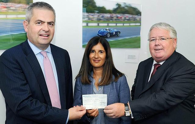 Elgin is pictured with Rosie Stolarski - Director of Fundraising and Development at the RNOH Charity and Kelly Group Chairman Tim Kelly (The London Irish Appeal is sponsored by the Kelly Group)