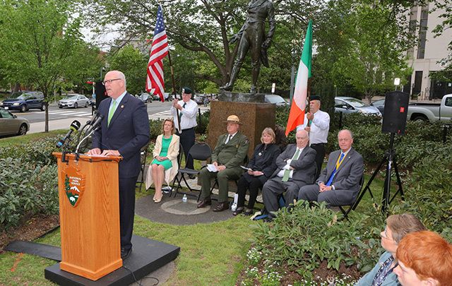 Congressman Joe Crowley speaking at the rededication ceremony back in the spring.