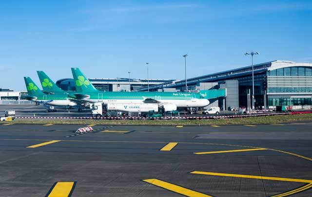 Aer Lingus planes lined up at Terminal 2 at Dublin Airport.
