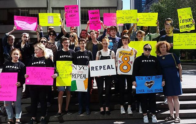 The New York rally to repeal the 8th amendment to Ireland's constitution.