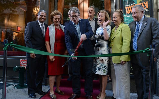 Actor Matthew Broderick, flanked by Consul General Barbara Jones and Irish Ambassador to the U.S. Anne Anderson, cuts the ribbon to open the Irish Repertory Theatre on Saturday.