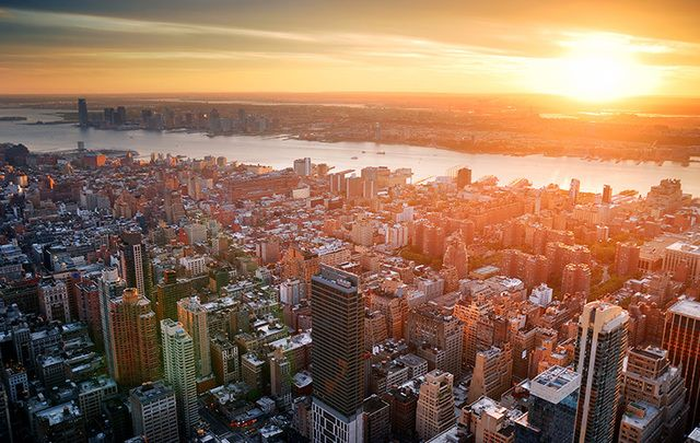 An aerial shot of Manhattan and New Jersey: Irish are in the hot seat, in both.