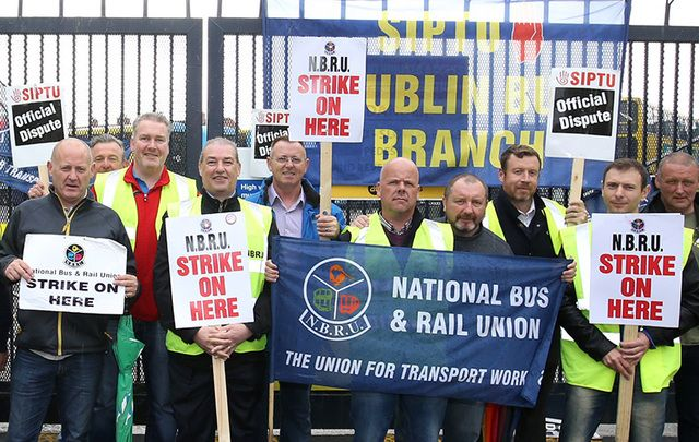 Dublin Bus drivers striking outside a depot last weekend.