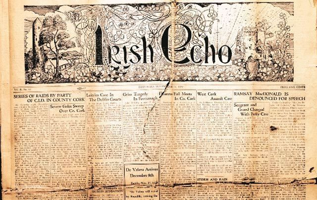 The surviving 1929 Irish Echo that is in the care of the Archives of Irish America at NYU.