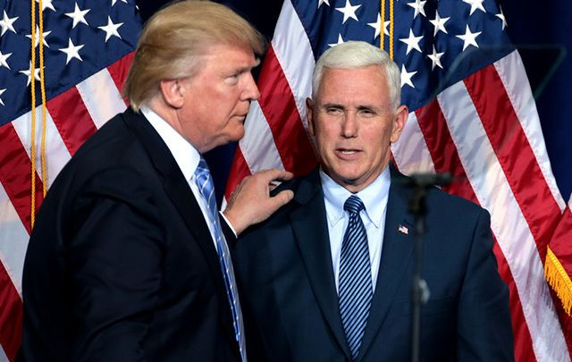 Republican Presidential candidate Donald Trump and his VP Mike Pence.