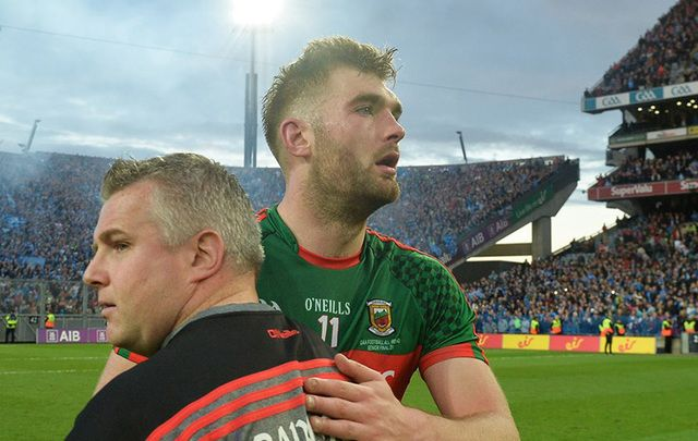 Mayo boss Stephen Rochford and Aidan O'Shea following the loss on Saturday.